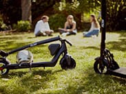 Flow electric scooters in park with people sitting on the grass