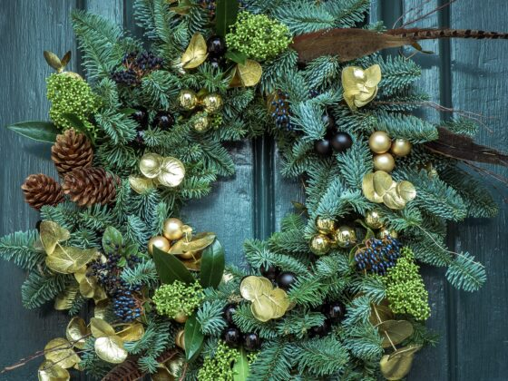 eco-friendly, foraged, Christmas, Wreath, Front door